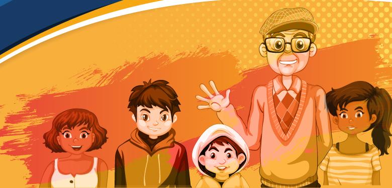 ilustración del padre javier de nicoló con los niños y niñas beneficiarios del IDIPRON