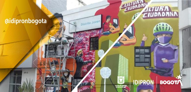 Imagen de la nueva fachada de Distrito Joven realizada por los beneficiarios del IDIPRON