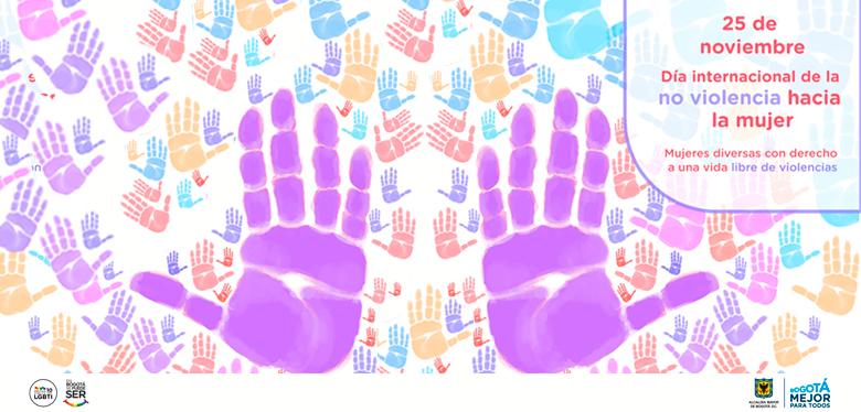 Manos de colores expresando rechazo contra la violencia hacia la mujer