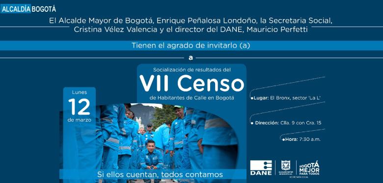 Invitación socialización resultados censo habitantes de calle.