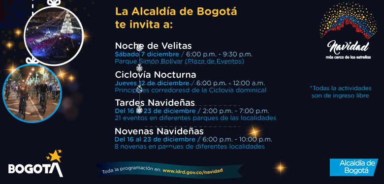 Invitación actividades de navidad alcaldía de Bogotá