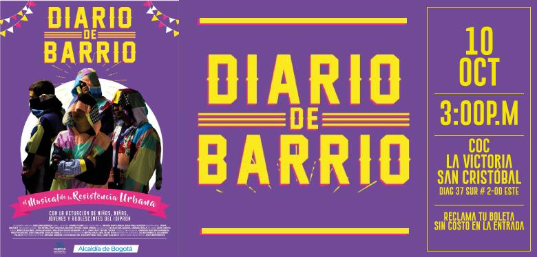 Invitación Obra musical teatral Diario de Barrio