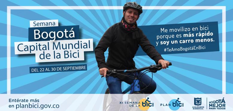 Joven en bicicleta con casco invitando a la XI semana de la bici